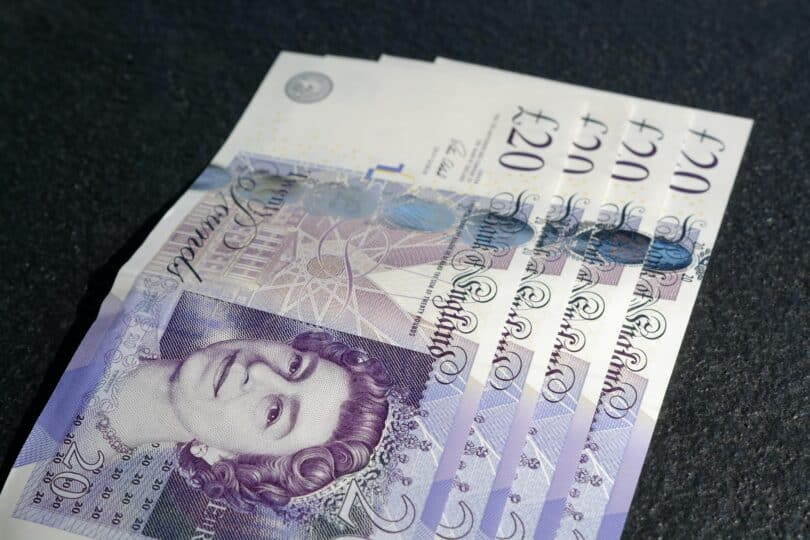 Close up of £20 sterling note